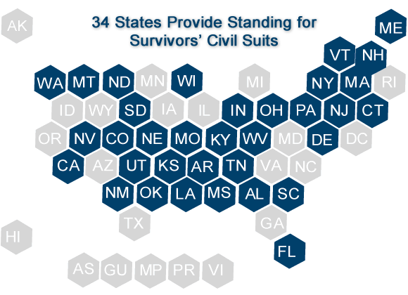 map of 34 states that provide for civil suits