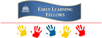 Wavy blue fellows logo with hand prints