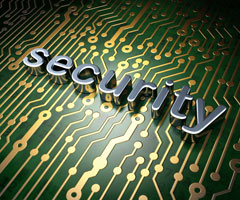 The word security on a circuit board