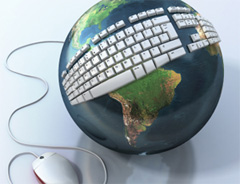 Globe with keyboard