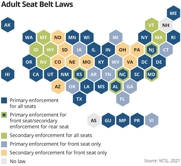Adult seat belt laws map.