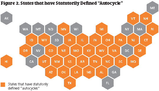 US map showing states that have autocycle laws.