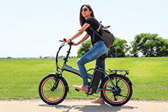 Woman on an electric bicycle.