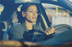 woman driving drowsy