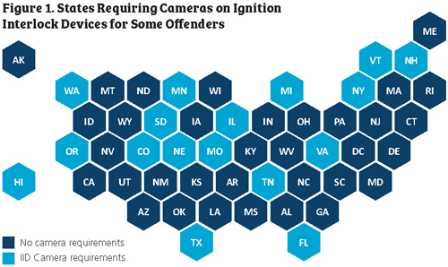 US map showing states requiring cameras on ignition interlock devices for some offenders.