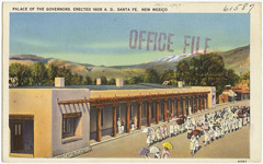Postcard picture of Palace of the Governors, Santa Fe, NM