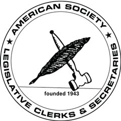 Line art of gavel, feather and name of ASLCS in a circular graphic.