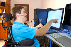 Disabled person using computer