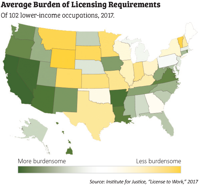 average burden of licensing requirements 50-state map