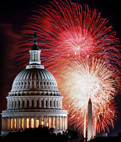 Fireworks behind the Capitol