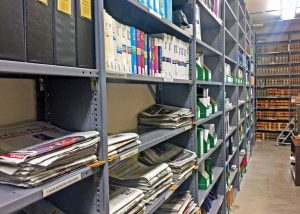 A photo of shelves in the Kansas Legislative Research Office Vault