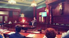 A photo of Dan Billings Chief of Senate Security in the Senate Caucus Chamber