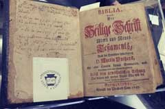 Oldest bible printed on American soil. In German. Printed in 1743