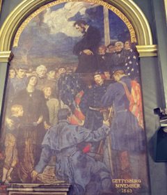 A photo of the painting depicting President Lincoln giving the Gettysburg Address from the PA Senate Chamber