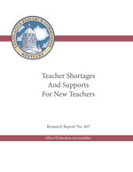 An image of the cover of the Teacher Shortages report. Predominantly white with black text, red accents and the Kentucky Legislature Seal