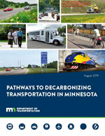 Image of the cover of the Pathways to Decolonization report with photos of a train, bus and other methods od motorized transportation.