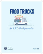 An image of the cover of the Food Trucks report. Predominantly light blue with an illustration of a food truck.