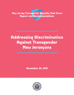 An image of the cover of the Addressing Discrimination Against Transgender New Jerseyans. Predominantly red with white text and blue accents.
