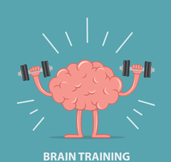 "Image of a cartoon brain with arms, holding two dumbbells with the words ""brain training"" underneath"