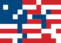An image of a pixelated American Flag