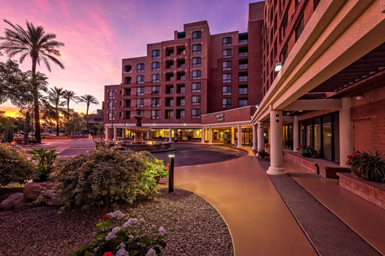 Photograph of the exterior of the Scottsdale Marriott Suites Old Town in Scottsdale, Arizona
