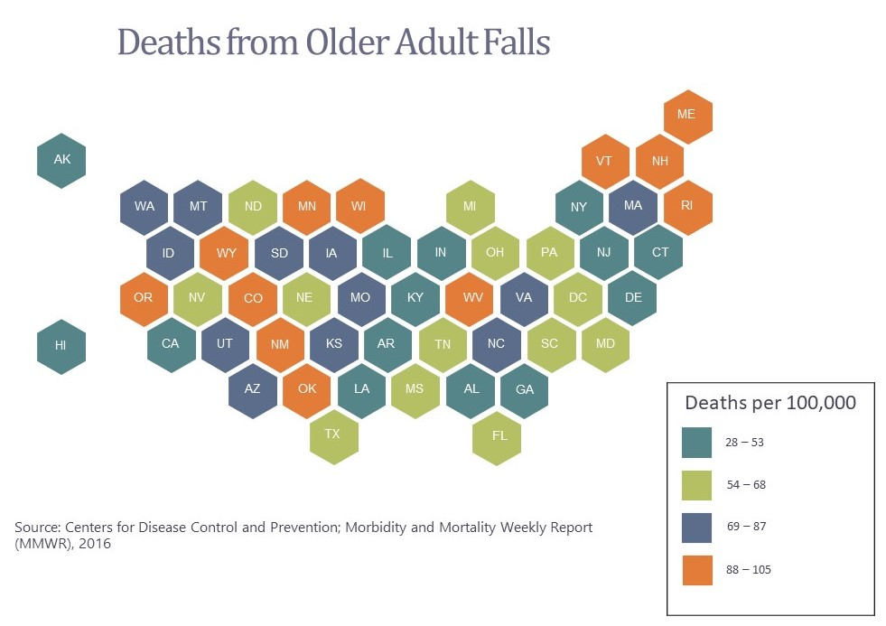 deaths from falling 50-state map ncsl