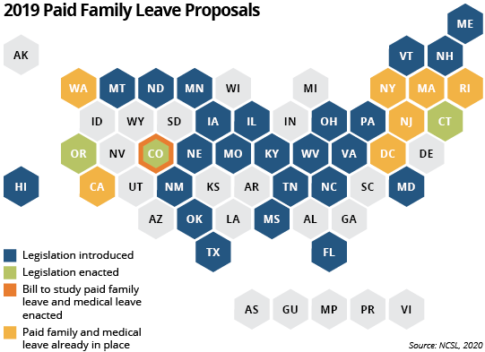 2019 paid family leave proposals 50-state map