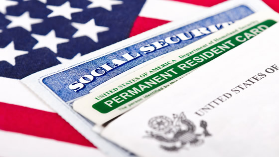 American flag and social security card