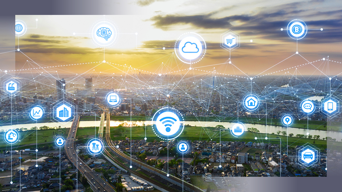 photo illustration of city with smart technology connections