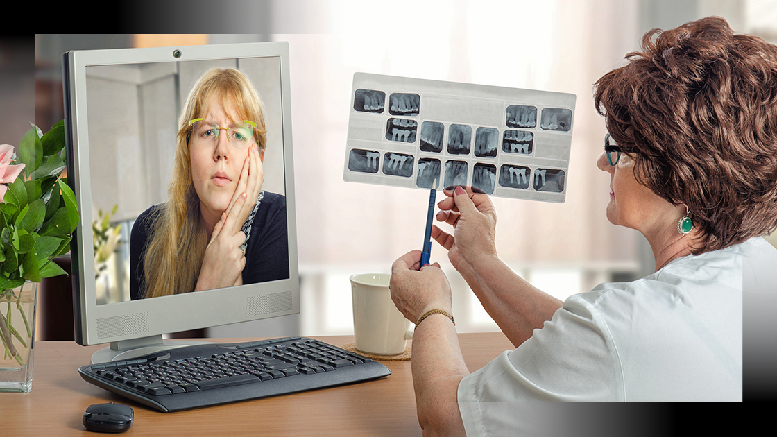 female patient receives telehealth treatment from a dentist