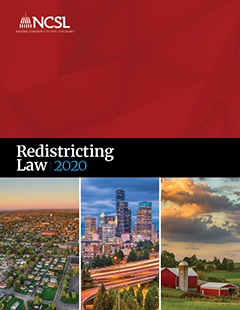 An image of the cover of the Redistrciting Law 2020 book. With a red bottom and cityscapes along the top half of the cover.