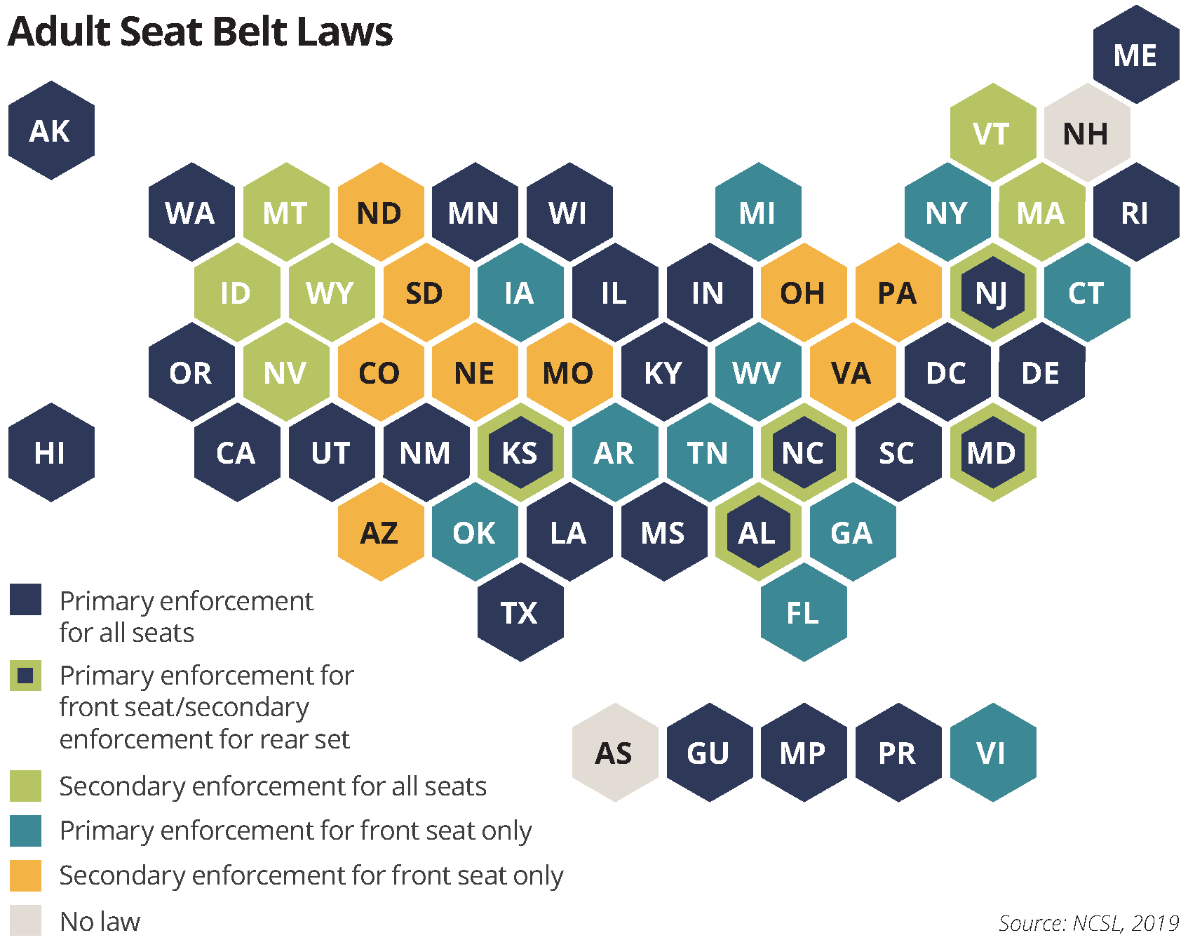 adult seat belt laws 50-state map