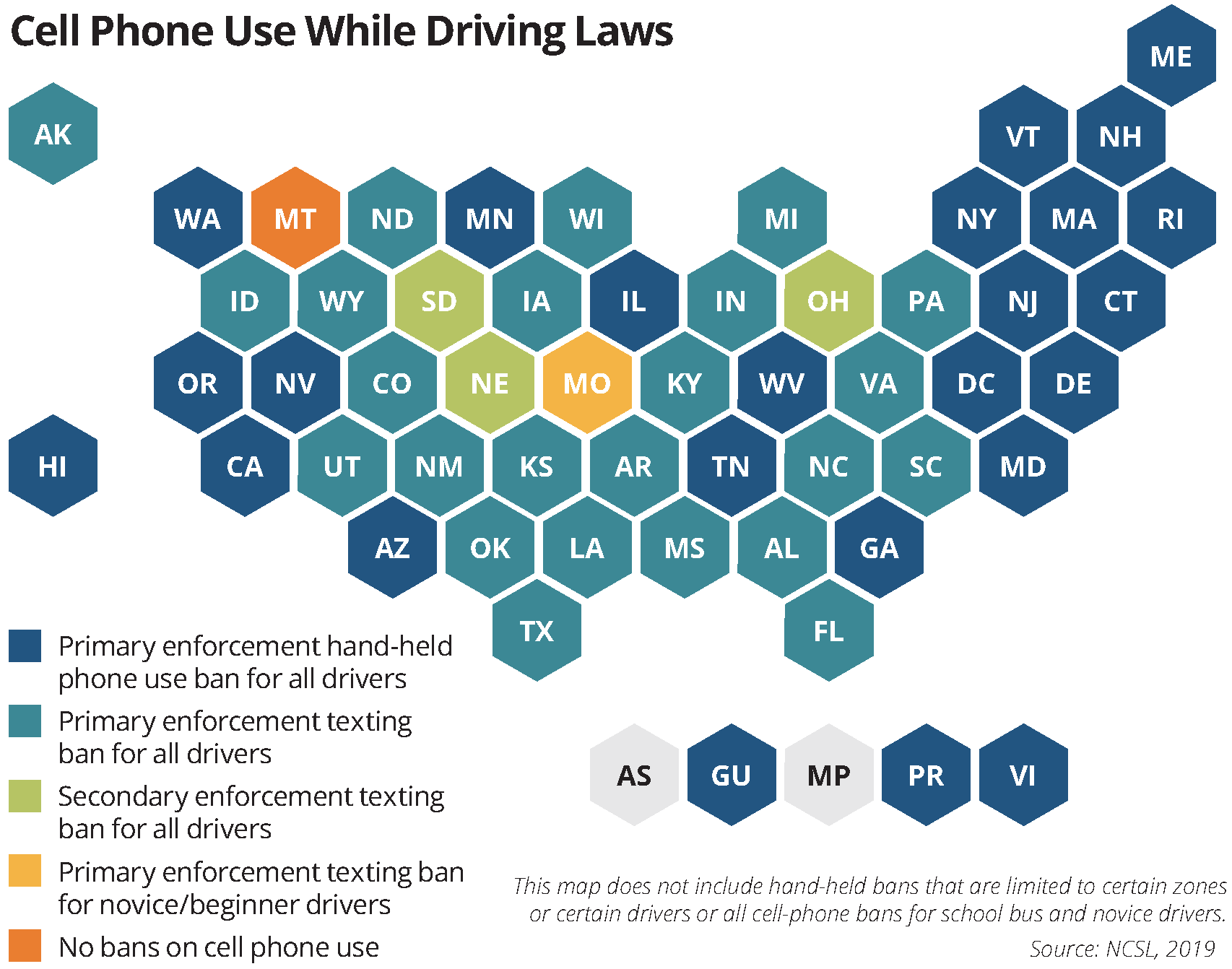 map Cell Phone Use While Driving Laws