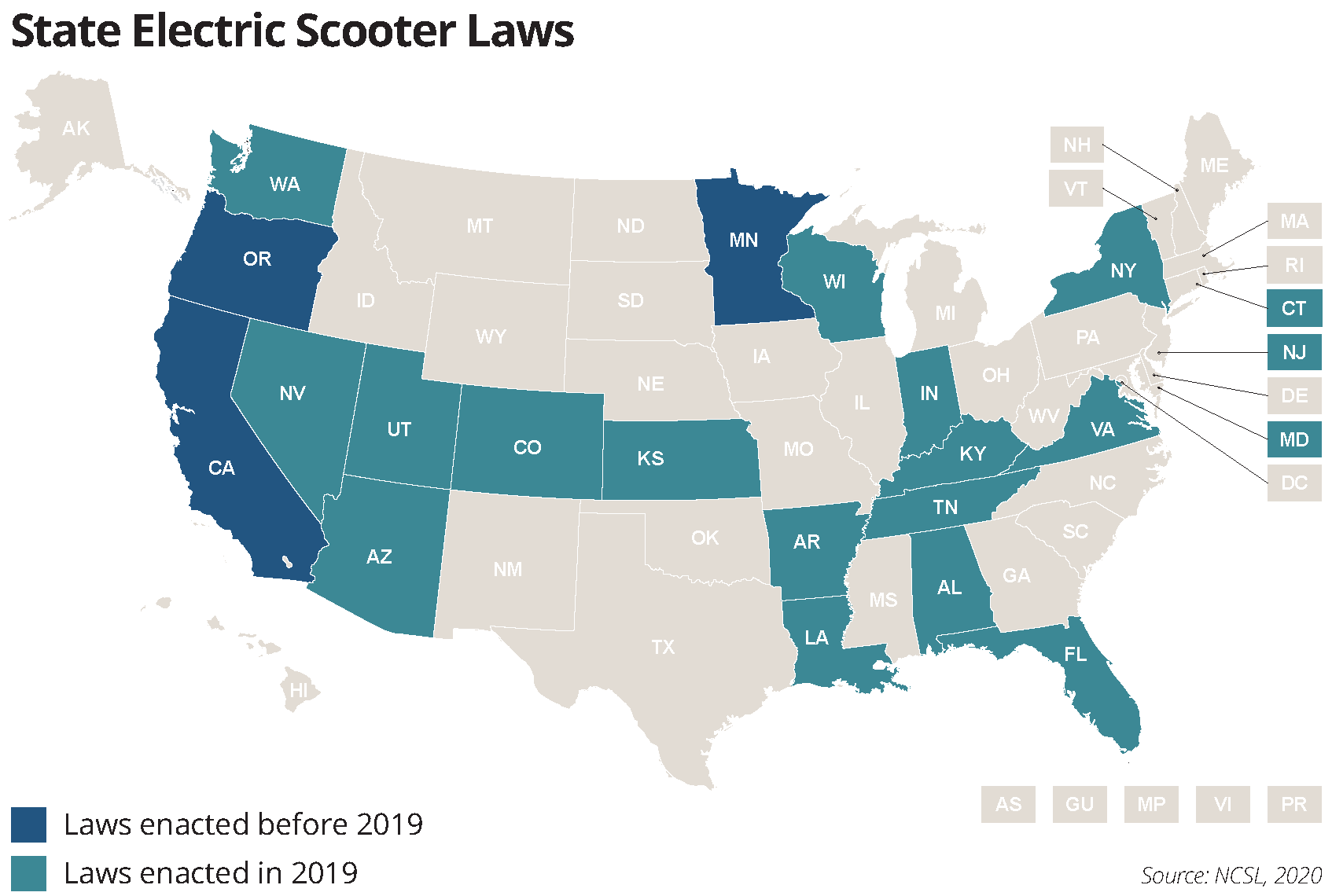 state electric scooter laws map