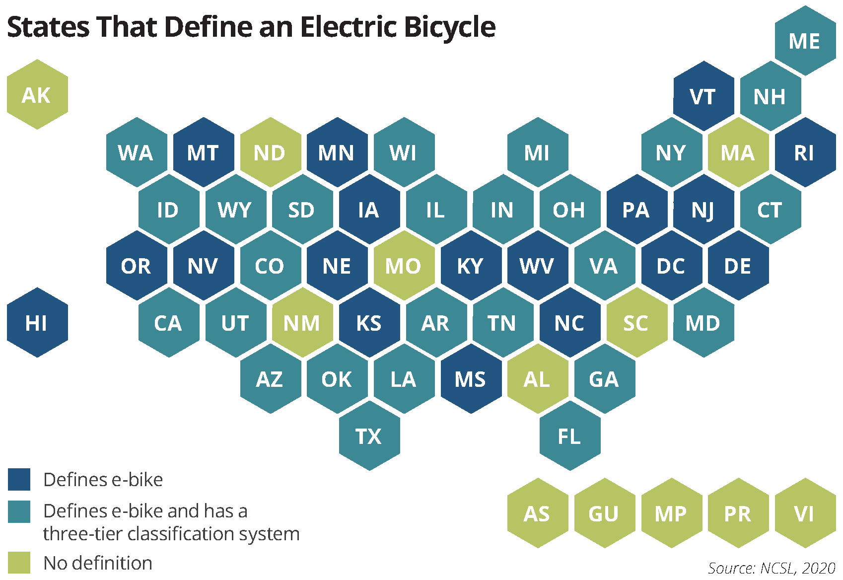 map states that define an electric bicycle
