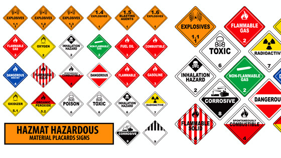 Hazardous materials chart of signs and symbols.