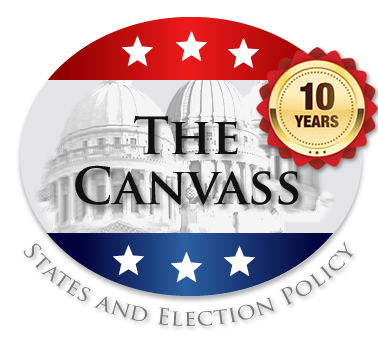 Image of a red, white and blue button that says The Canvass